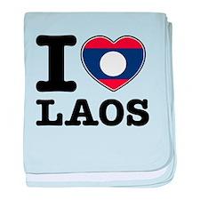I heart Laos baby blanket