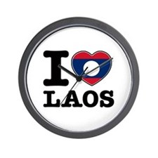 I heart Laos Wall Clock