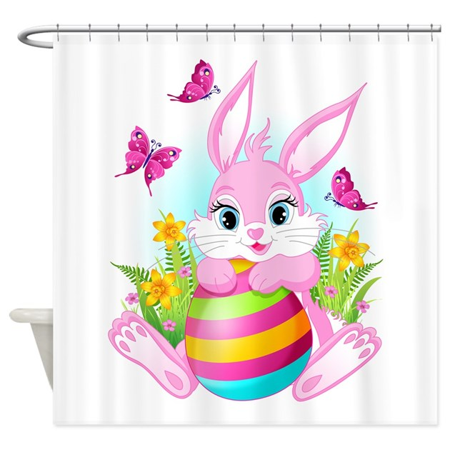 Pink Easter Bunny Shower Curtain by ShowerCurtainShop