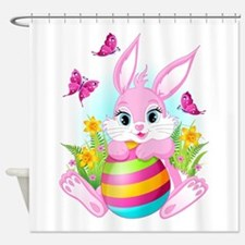 Pink Easter Bunny Shower Curtain