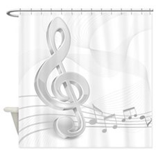 Treble Clef Music Notes Shower Curtain