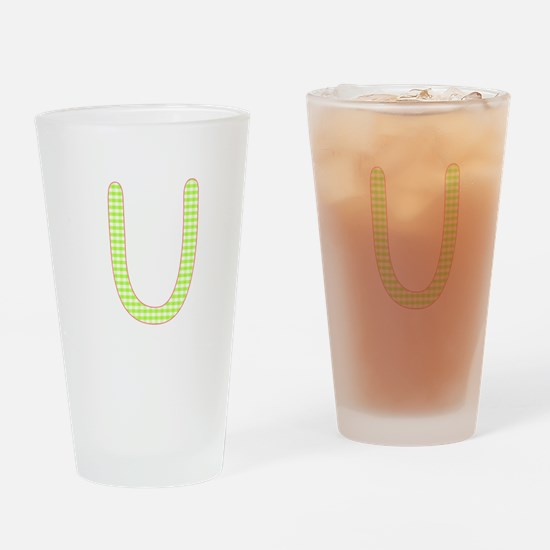 Lime and White Gingham Check Initial U Drinking Gl