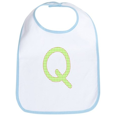 Lime and White Gingham Check Initial Q Bib