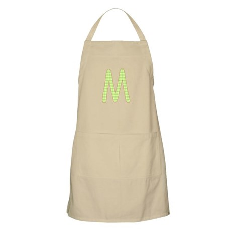 Lime and White Gingham Check Initial M Apron