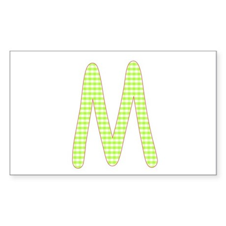 Lime and White Gingham Check Initial M Sticker (Re