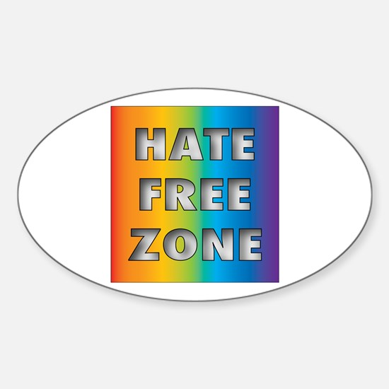 Hate Free Zone Oval Decal