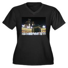 Kaaba Sharif Women's Plus Size V-Neck Dark T-Shirt
