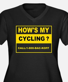 How's my cycling Women's Plus Size V-Neck Dark T-S