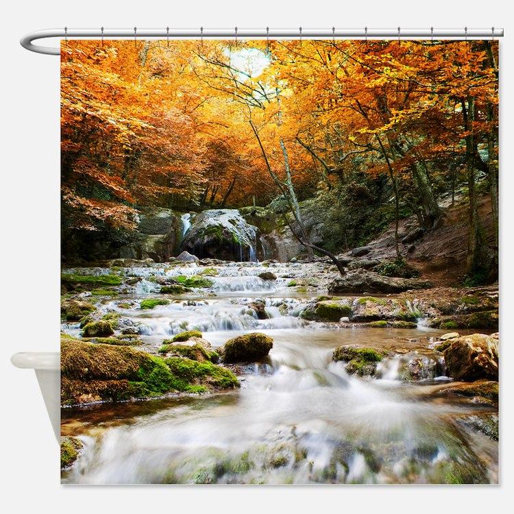 Autumn Forest Waterfall Shower Curtain