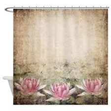 Pink Lotus Grunge Shower Curtain