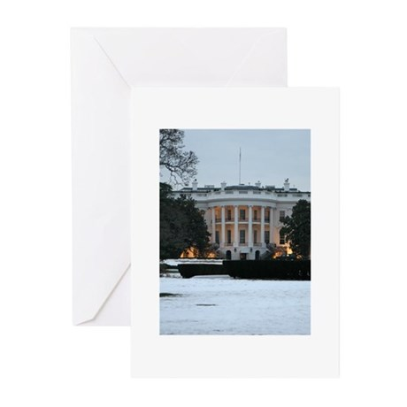 white house snow Greeting Cards (Pk of 10)
