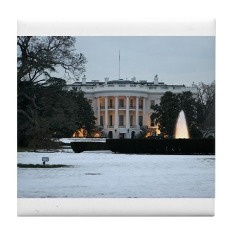white house snow Tile Coaster