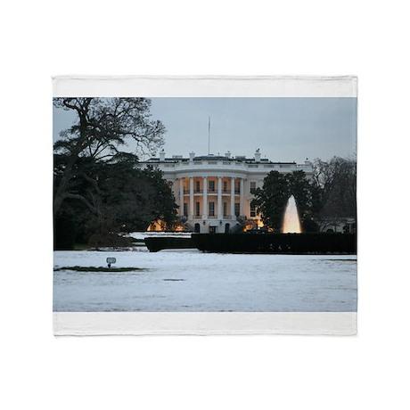 white house snow Throw Blanket