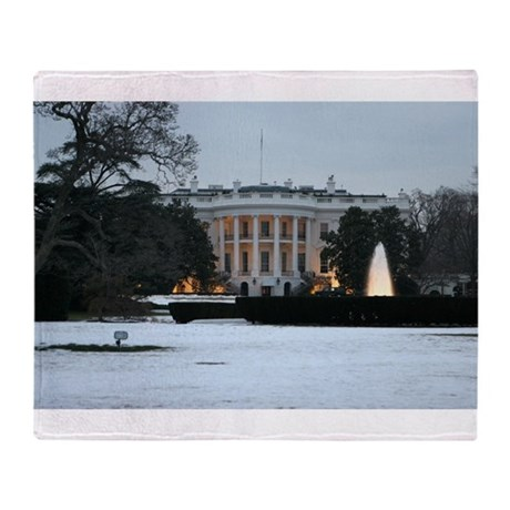 white house snow Throw Blanket