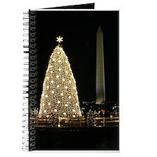 White House Christmas Tree with Washington Monumen