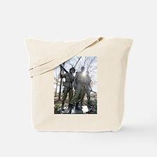 Vietnam war memorial three service men Tote Bag
