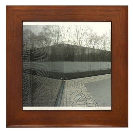 Vietnam war memorial wall reflection Framed Tile