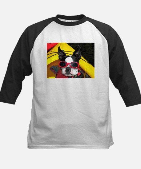 Red Goggled Boston Terrier Kids Baseball Jersey