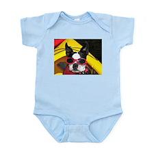 Red Goggled Boston Terrier Infant Bodysuit