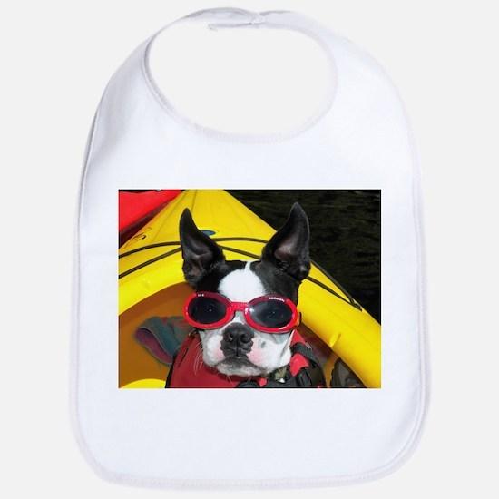Red Goggled Boston Terrier Bib