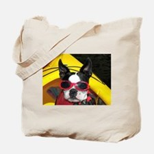 Red Goggled Boston Terrier Tote Bag
