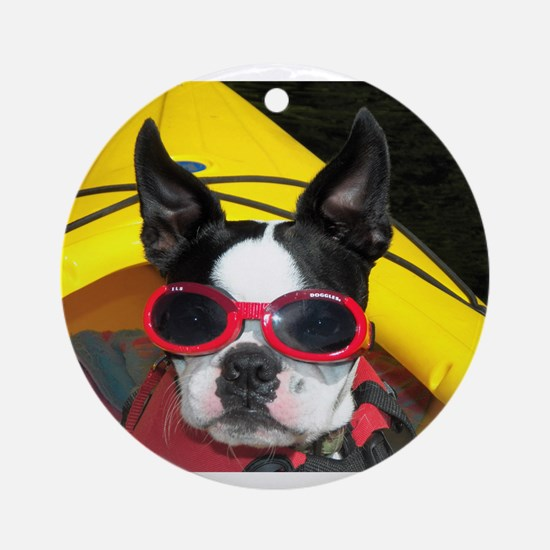 Red Goggled Boston Terrier Ornament (Round)