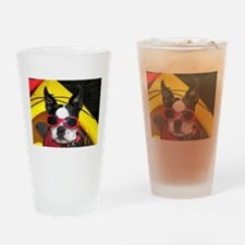 Red Goggled Boston Terrier Drinking Glass