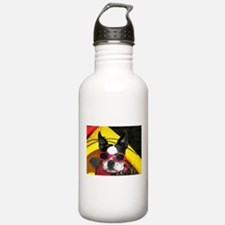 Red Goggled Boston Terrier Water Bottle