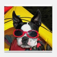 Red Goggled Boston Terrier Tile Coaster