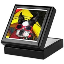 Red Goggled Boston Terrier Keepsake Box