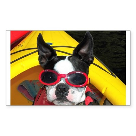 Red Goggled Boston Terrier Sticker (Rectangle)
