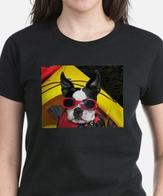 Red Goggled Boston Terrier Tee