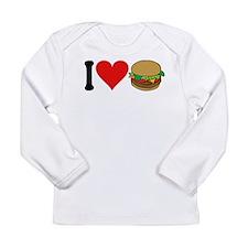 3-ilovehamburgersblk.png Long Sleeve Infant T-Shir