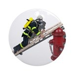 Fireman on Ladder on Fire Hydrant Ornament (Round)