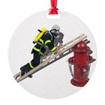 Fireman on Ladder on Fire Hydrant Round Ornament