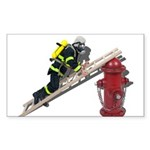 Fireman on Ladder on Fire Hydrant Sticker (Rectang