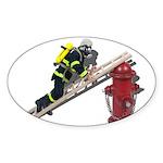 Fireman on Ladder on Fire Hydrant Sticker (Oval 50