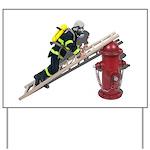 Fireman on Ladder on Fire Hydrant Yard Sign