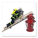 Fireman on Ladder on Fire Hydrant Square Car Magne