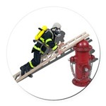 Fireman on Ladder on Fire Hydrant Round Car Magnet