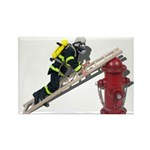 Fireman on Ladder on Fire Hydrant Rectangle Magnet