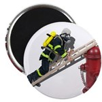 Fireman on Ladder on Fire Hydrant Magnet