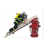 Fireman on Ladder on Fire Hydrant Postcards (Packa