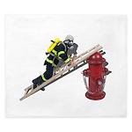 Fireman on Ladder on Fire Hydrant King Duvet