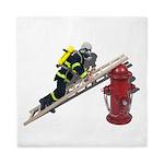 Fireman on Ladder on Fire Hydrant Queen Duvet