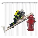 Fireman on Ladder on Fire Hydrant Shower Curtain