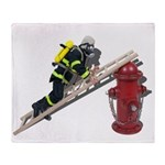 Fireman on Ladder on Fire Hydrant Throw Blanket