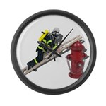 Fireman on Ladder on Fire Hydrant Large Wall Clock