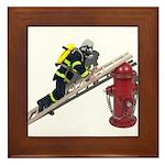 Fireman on Ladder on Fire Hydrant Framed Tile