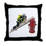 Fireman on Ladder on Fire Hydrant Throw Pillow